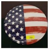 AMERICAN FLAG METAL BUTTON SIGN