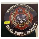 FIRE FIGHTER METAL BUTTON SIGN