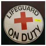 LIFEGUARD METAL BUTTON SIGN