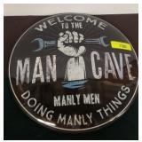 MAN CAVE METAL BUTTON SIGN