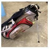 YUENGLING GOLF BAG AND ASSORTED CLUBS