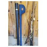 2 ROD CASES, FISHING RODS