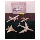 GROUP OF PEWTER DANBURY MINT AIRPLANES, PORCELAIN