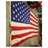 LARGE VINTAGE AMERICAN FLAG, SHOWS DAMAGE