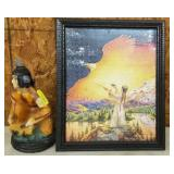 NATIVE AMERICAN FIGURES AND FRAMED PUZZLE