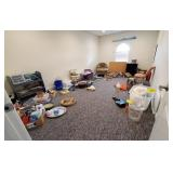 CONTENTS OF PLAY ROOM- CHAIRS, CHAISE, SUPPLIES,