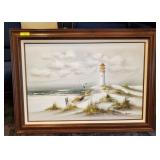 OIL ON CANVAS LIGHTHOUSE PRINT SIGNED