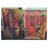 PAIR OF LARGE PHOTOGRAPHS ON CANVAS