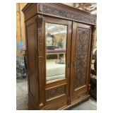 ANTIQUE OAK/MIXED WOOD ARMOIRE TYPE CABINET