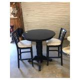 ROUND NAVY BLUE WOODEN PUB TABLE W/ 2 BAR CHAIRS