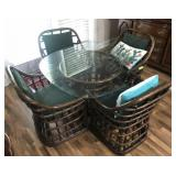 ROUND RATAN GLASS TOP TABLE WITH 4 CHAIRS