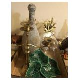 TRAY OF MISC DECOR- PINEAPPLES, CANDLE HOLDER,
