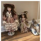 2 LARGE DOLLS AND PURSE