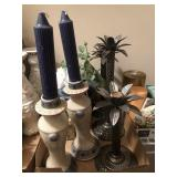 TRAY LOT- CANDLE HOLDERS, MISC
