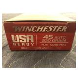 WINCHESTER 45 AUTO 230GR, FLAT NOSE FMJ 50 ROUNDS