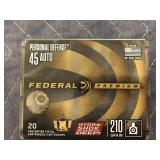 FEDERAL 45 AUTO 210 GR PERSONAL DEFENSE 20 ROUNDS