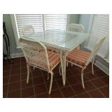 WICKER GLASS TOP TABLE, 4 CHAIRS