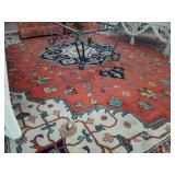 HAND KNOTTED WOOL RUG (12 X 9)-SHOWS WEAR