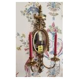 BRASS WALL SCONCE WITH BEVELED MIRROR, PRISMS X2