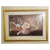 ORIENTAL FLORAL PICTURE, SIGNED