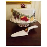 FRUIT CAKE STAND WITH TOP, SERVING KNIFE