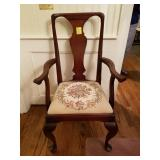 MAHOGANY NEEDLE POINT QUEEN ANNE CHAIRS, X10