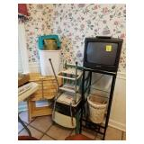 VINTAGE STEP STOOL, TV STAND, TV, TEAL CHAIR