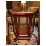 HERICON BEVELED GLASS TOP TABLE, CURIO