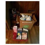 RIGHT BOTTOM CORNER OF BOOKSHELF: DVDS, VHS TAPES,