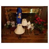 2 BRASS LAMPS, FOLDING CHAIR, BASKET ARRANGEMENT