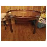 OVAL MAHOGANY PIE CRUST COFFEE TABLE WITH INLAID