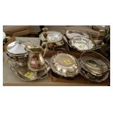 4 TRAY LOTS: SILVERPLATE CANDLESTICKS, DISHES,