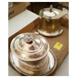 1 TRAY LOT: SILVERPLATE BISCUIT JARS