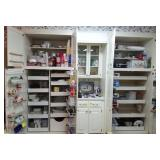 ALL CABINETS TO LEFT OF REFRIGERATOR: BOWLS,