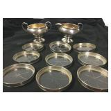 9 STERLING/GLASS COASTERS, STERLING CREAM AND