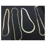 4 BRAIDED NECKLACES MARKED 925