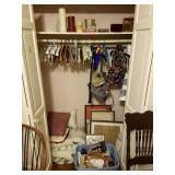 CONTENTS OF 2 CLOSETS SPREAD, ASSORTED PICTURES,
