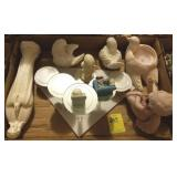 TRAY LOT SNOW BABY, ANGEL, PAIR BIRD CANDLE HOLDER