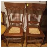 OAK PRESSED AND SPINDLE BACK CANE SEAT CHAIR X 2