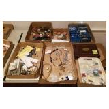 6 TRAY LOT MISCELLANEOUS COSTUME JEWELRY WATCHES,