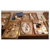 6 TRAY LOT COSTUME JEWELRY NECKLACES, EARRINGS