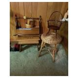 SMALL FURNITURE LOT, BENCH, DOLL CRADLE,