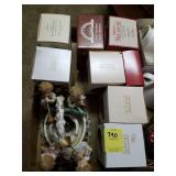 TRAY LOT OF HOLIDAY ORNAMENTS, HUMMELS, MISC.