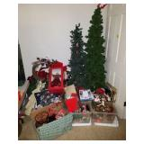 LARGE GROUP OF CHRISTMAS, TREES, ORNAMENTS