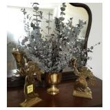 BRASS LOT, ANGEL CANDLE HOLDERS, VASE