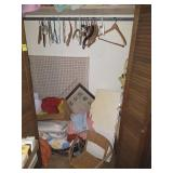 CONTENTS OF CLOSET: DOLL CHAIRS, PICTURES,