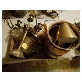 BRASS LOT ICE BUCKETS, CANDLE HOLDERS,