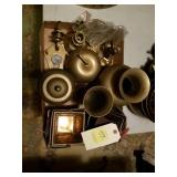 BRASS LOT URNS, CANDLE HOLDRS, BASKET