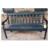 OUTSIDE:  WOODEN PORCH BENCH