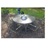 METAL TABLE WITH 4 CHAIRS, ANGEL STATUE